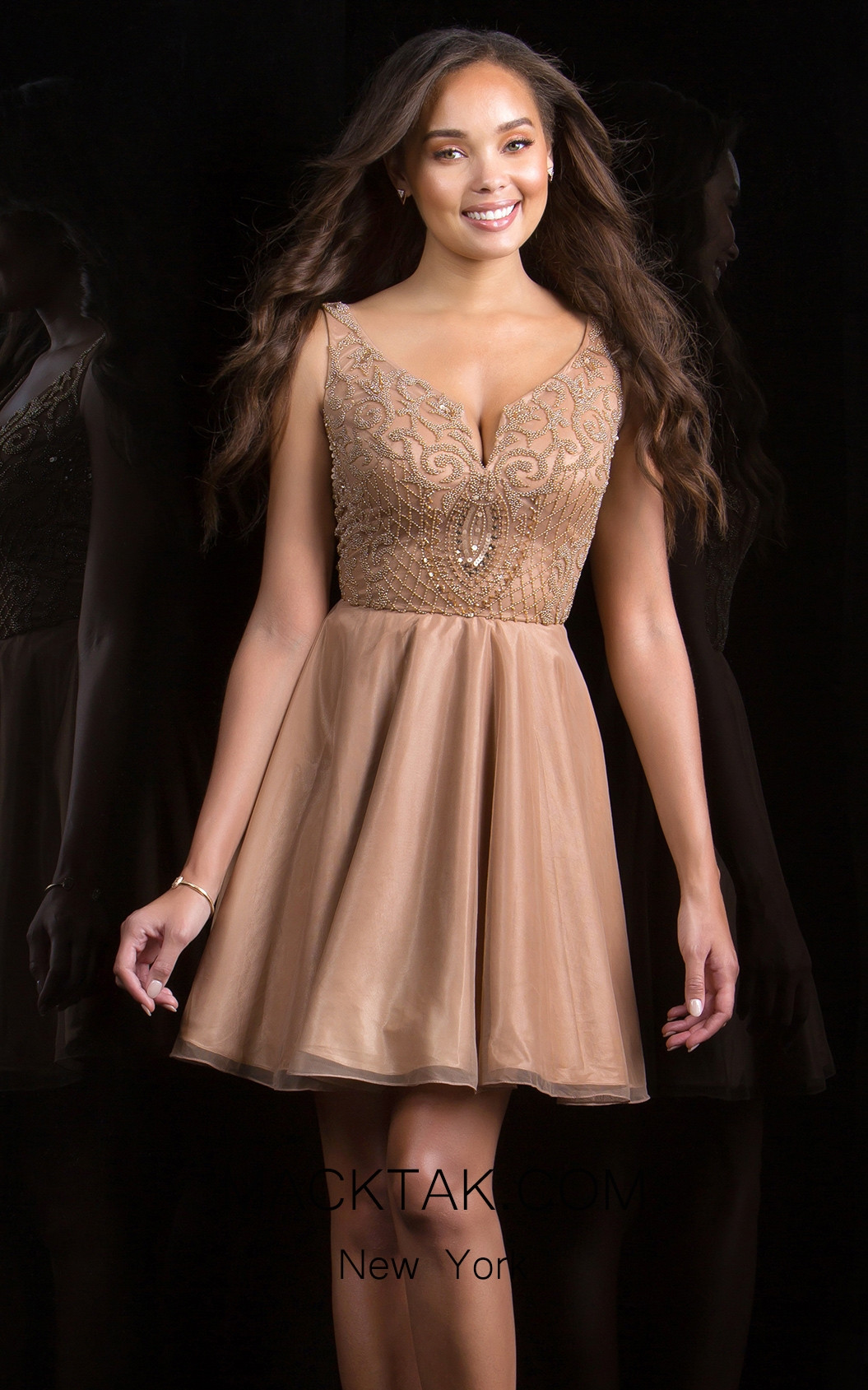 Scala 48815 Champagne Front Evening Dress