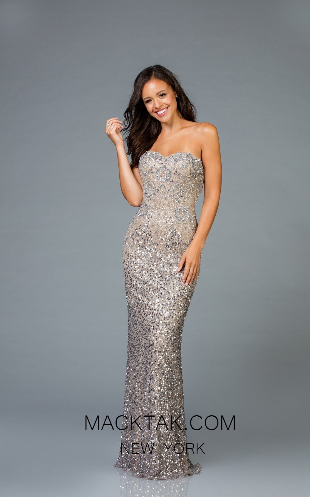 Scala 48942 Lead Silver Front Evening Dress