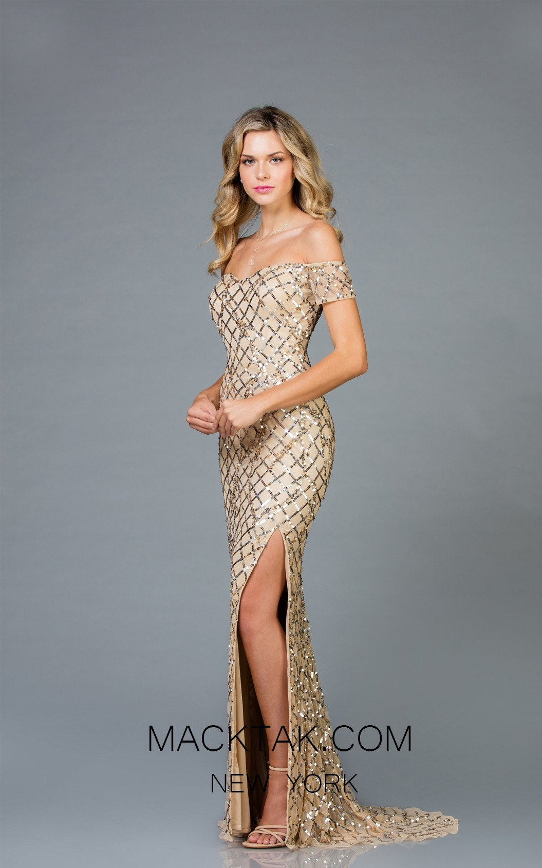 Scala 48945 Champagne Front Evening Dress