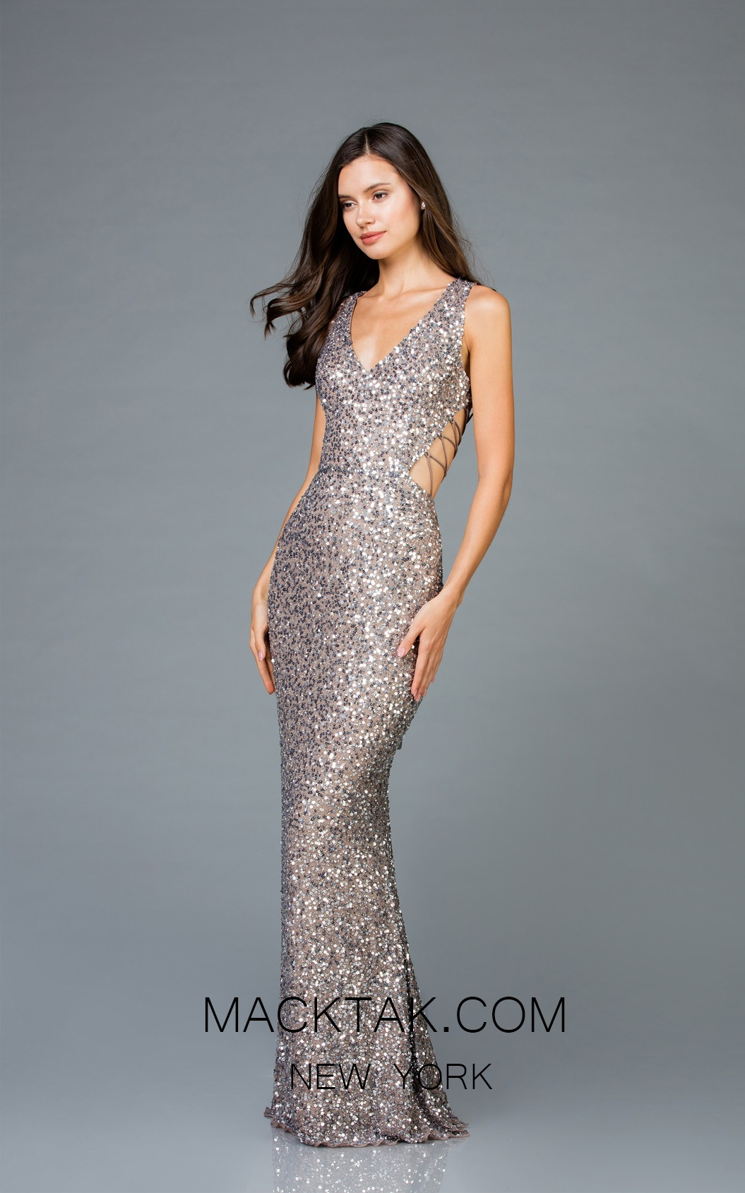 Scala 48962 Lead Silver Front Evening Dress