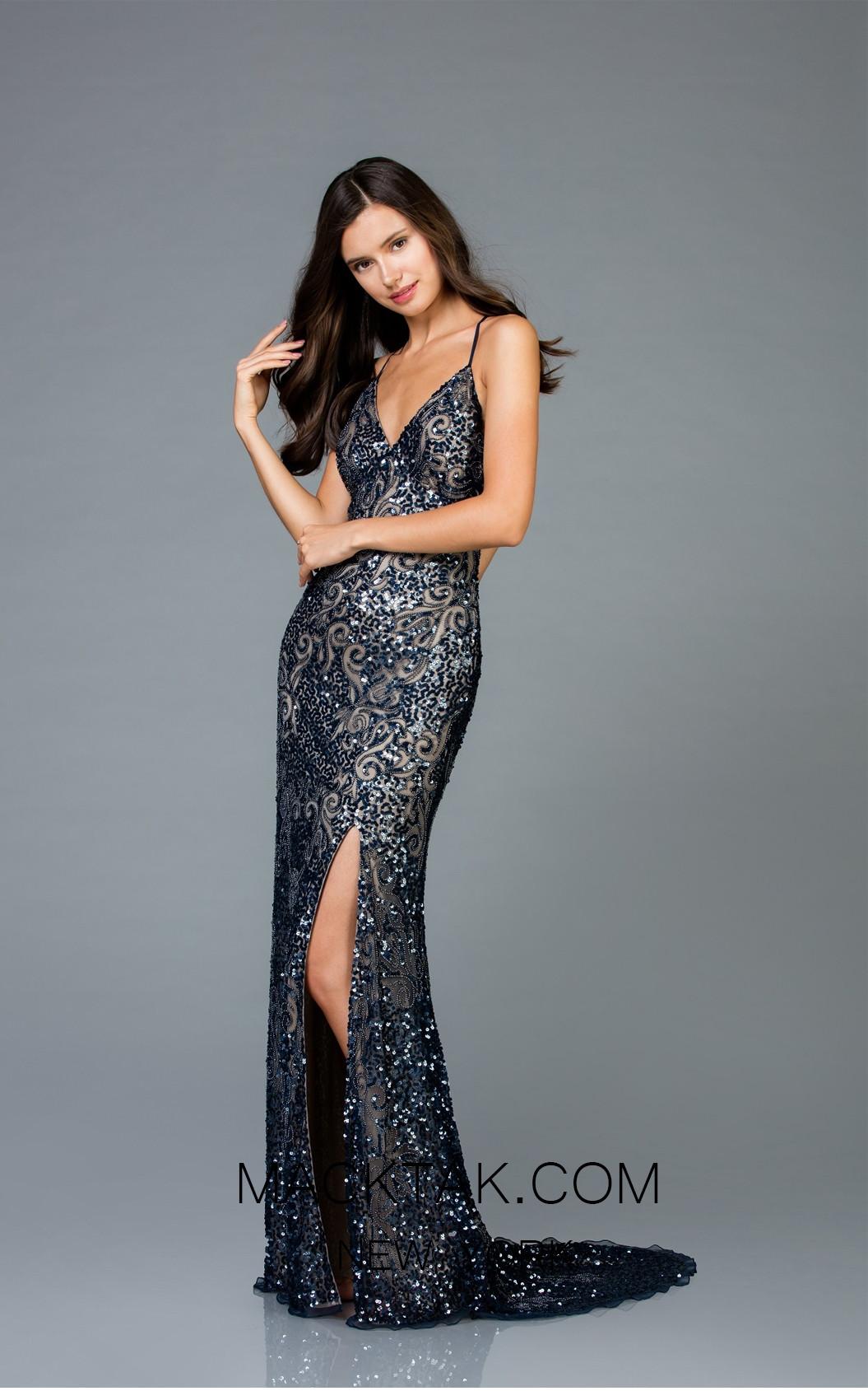 Scala 48977 Navy Nude Front Evening Dress