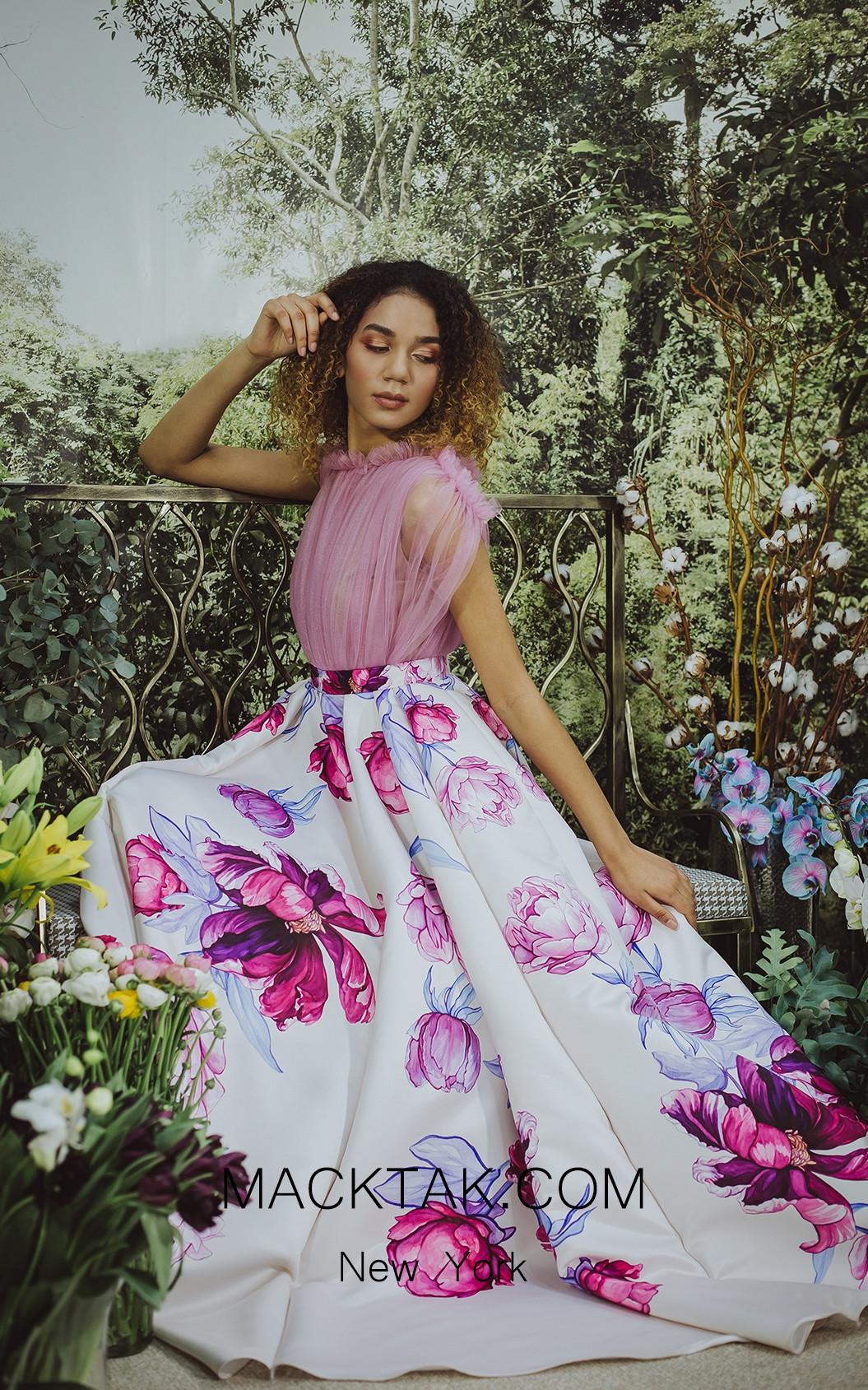 Sinestezic 6908 Print Front Evening Dress