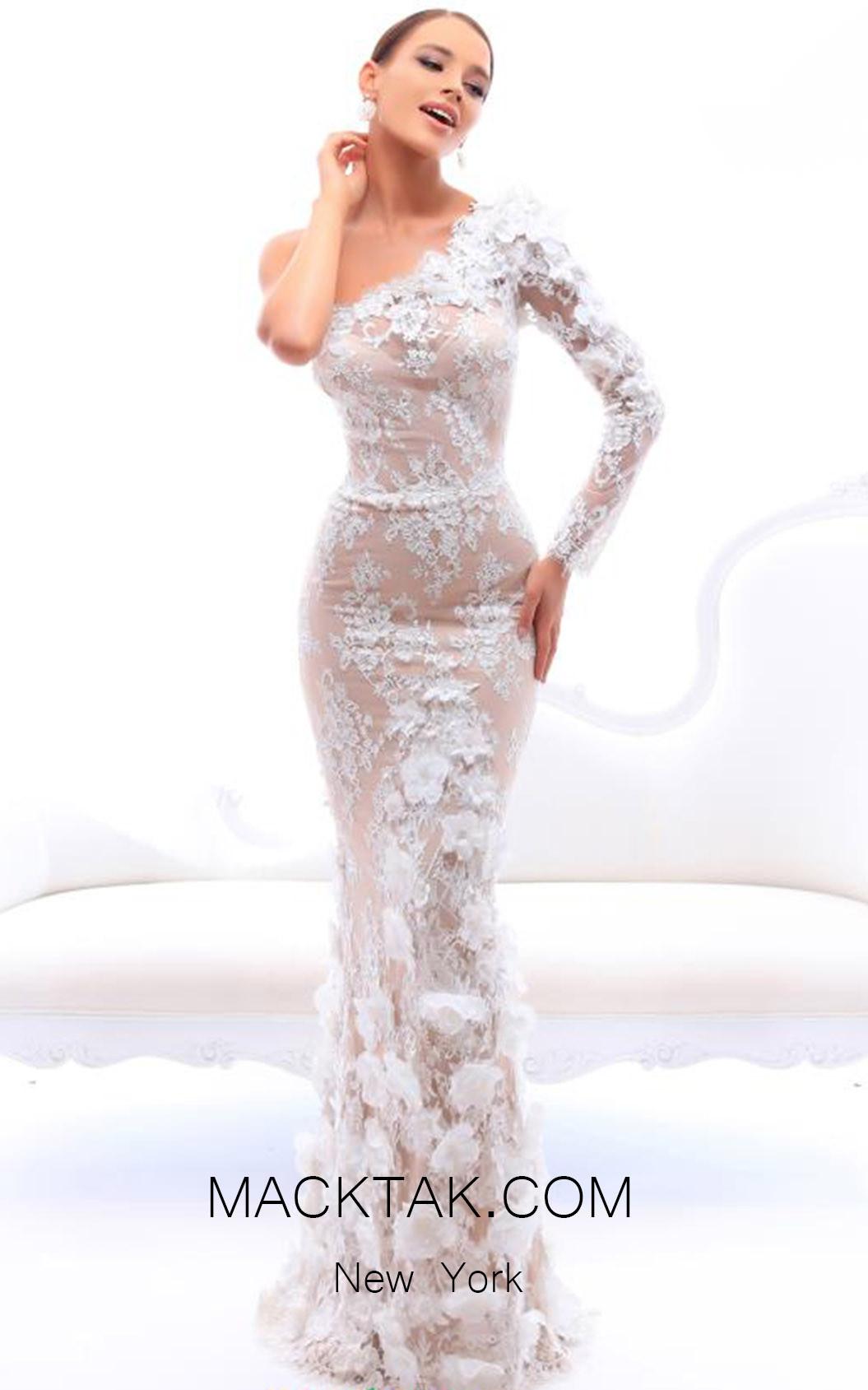 Tarik Ediz 93403 Ivory Front Evening Dress