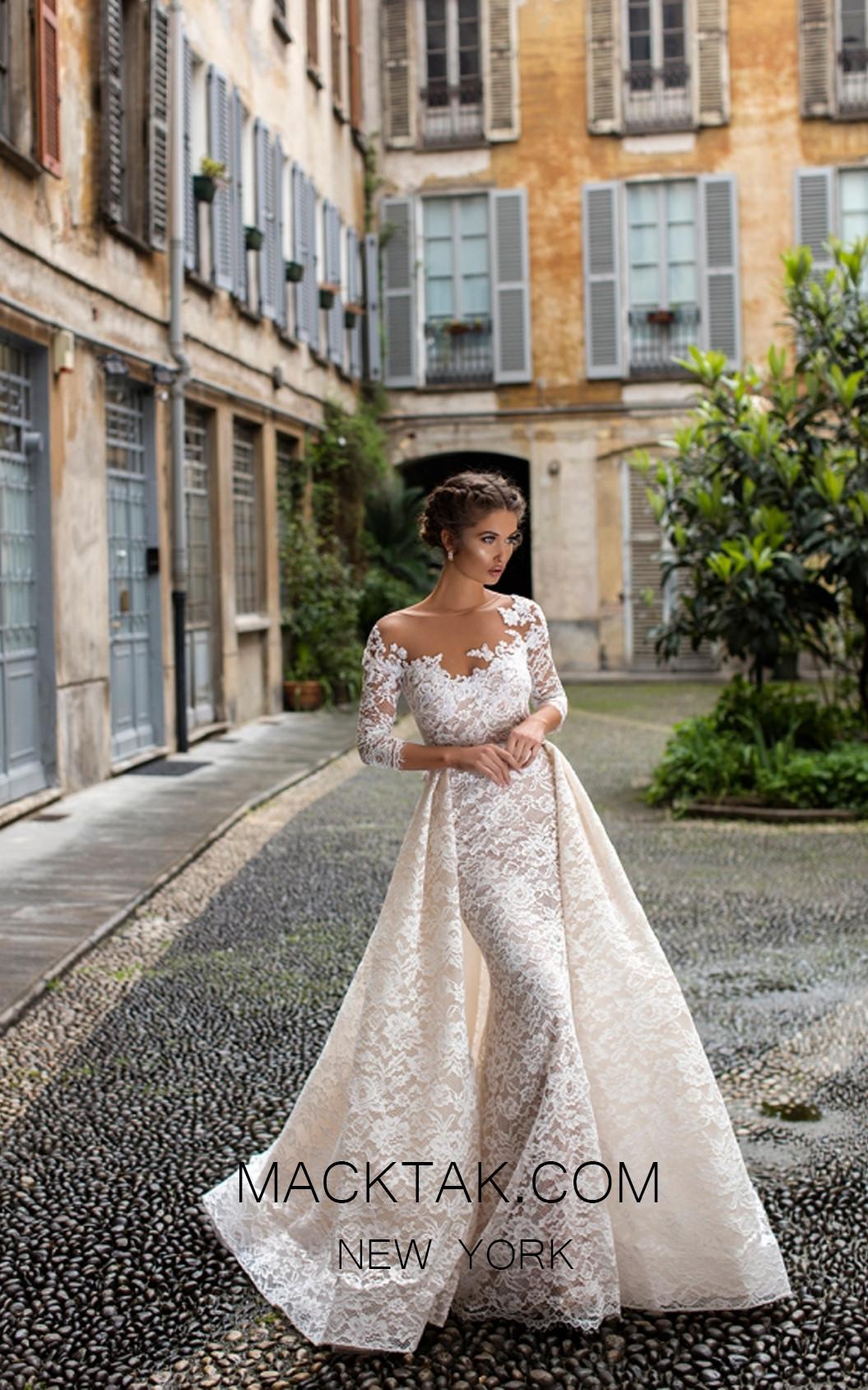 Tarik Ediz 93633 Ivory Front Evening Dress