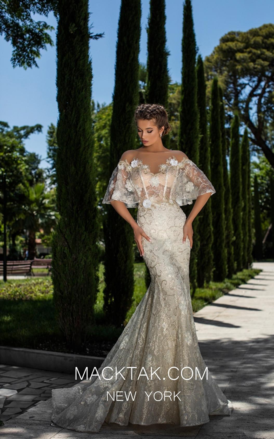 Tarik Ediz 93660 Ivory Front Evening Dress