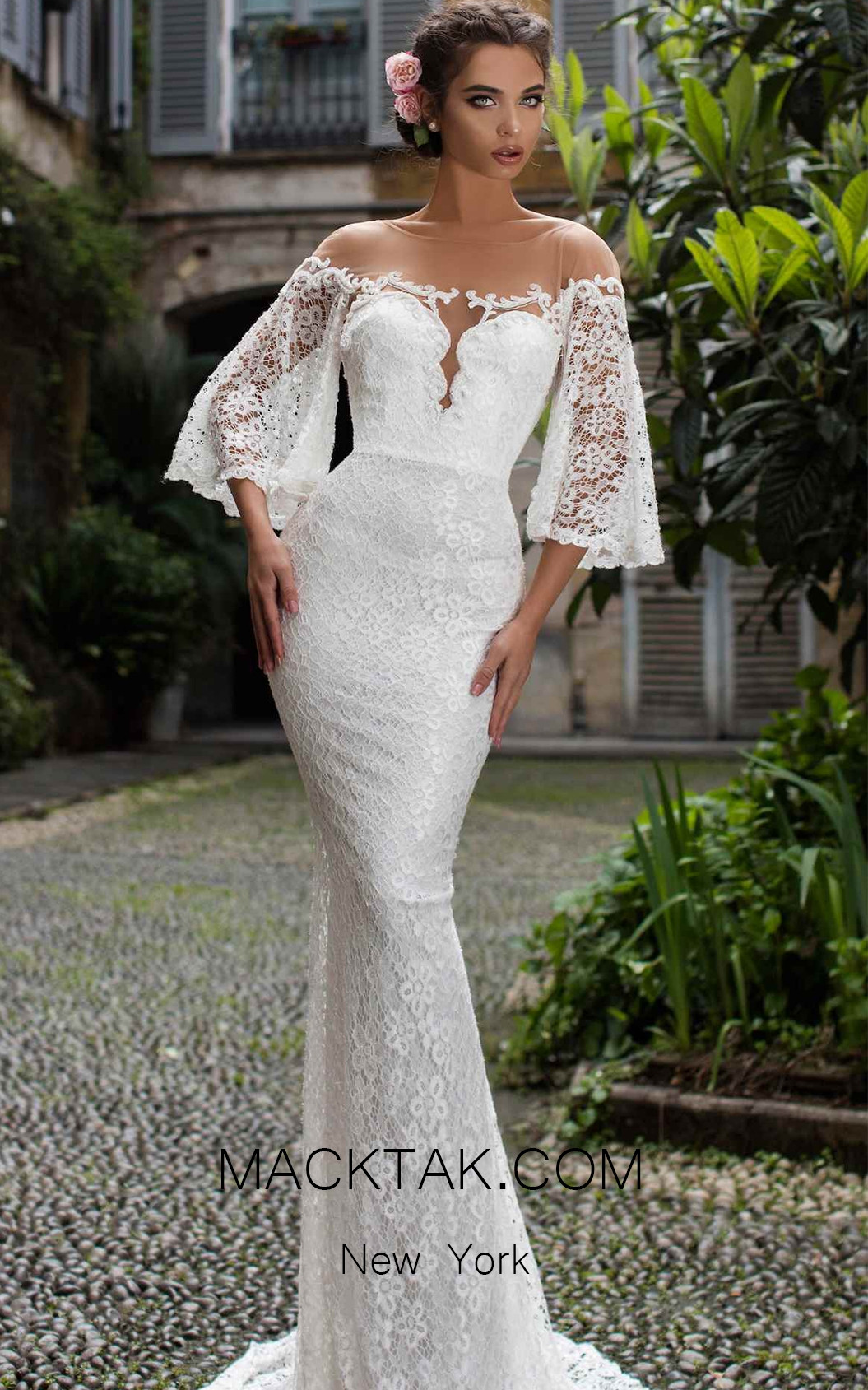 Tarik Ediz 93671 Ivory Front Evening Dress