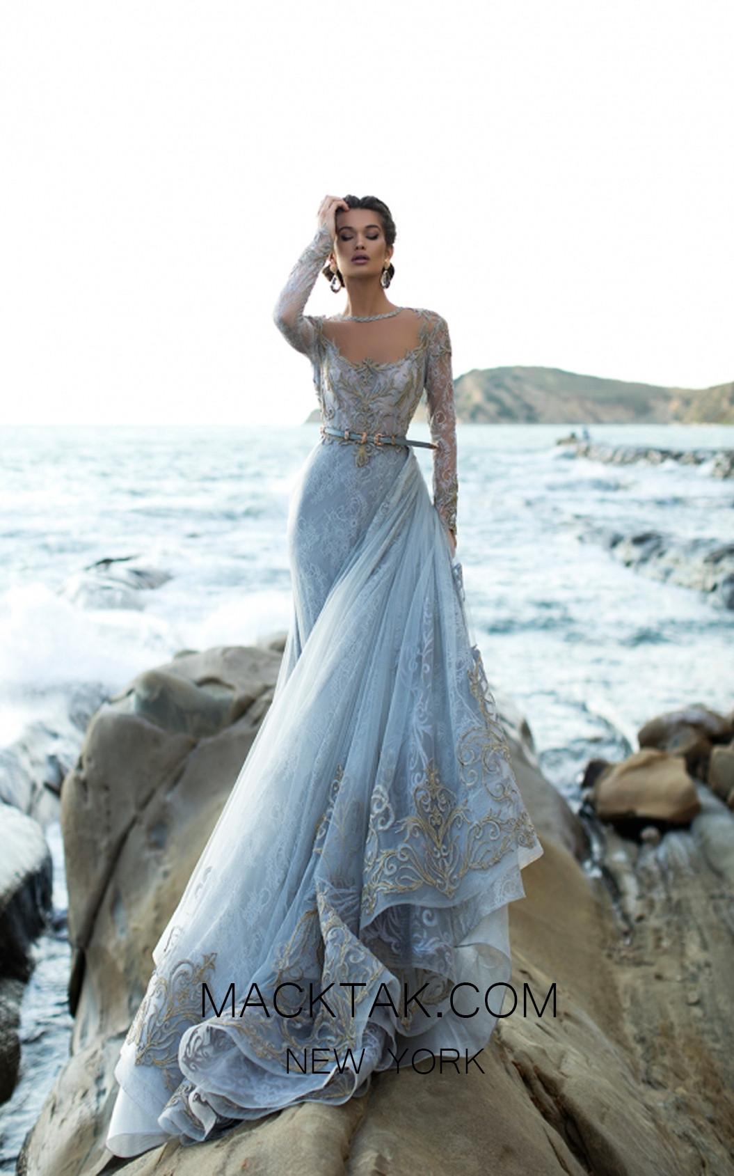Tarik Ediz 93754 Cloudy Blue Front Evening Dress