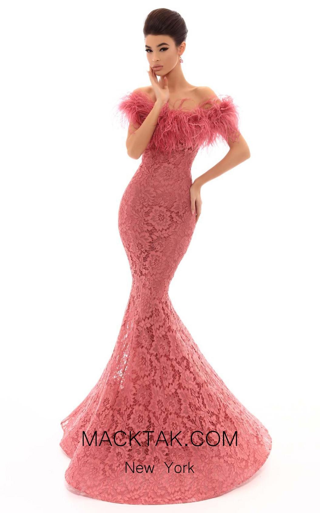 Tarik Ediz 93635 Dark Rose Front Dress