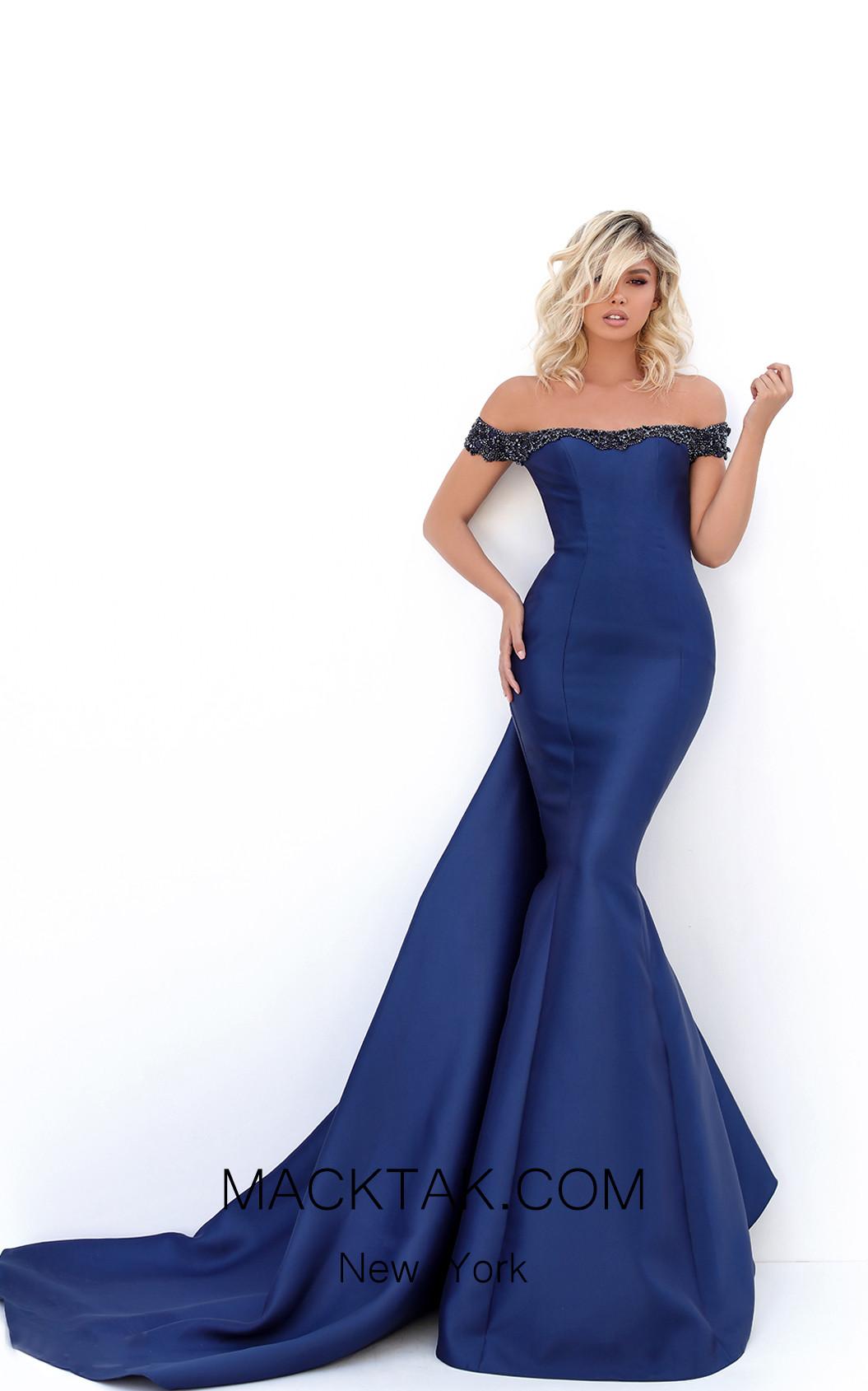 Tarik Ediz 50704 Navy Front Dress