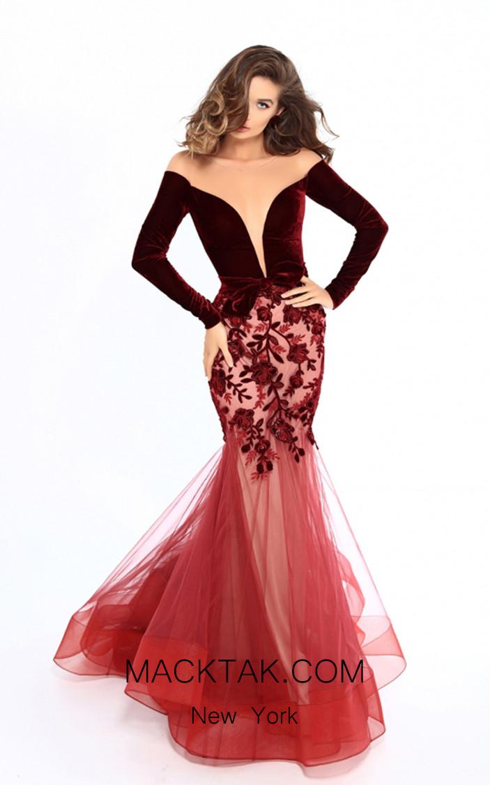 Tarik Ediz 93657 Burgundy Front Dress