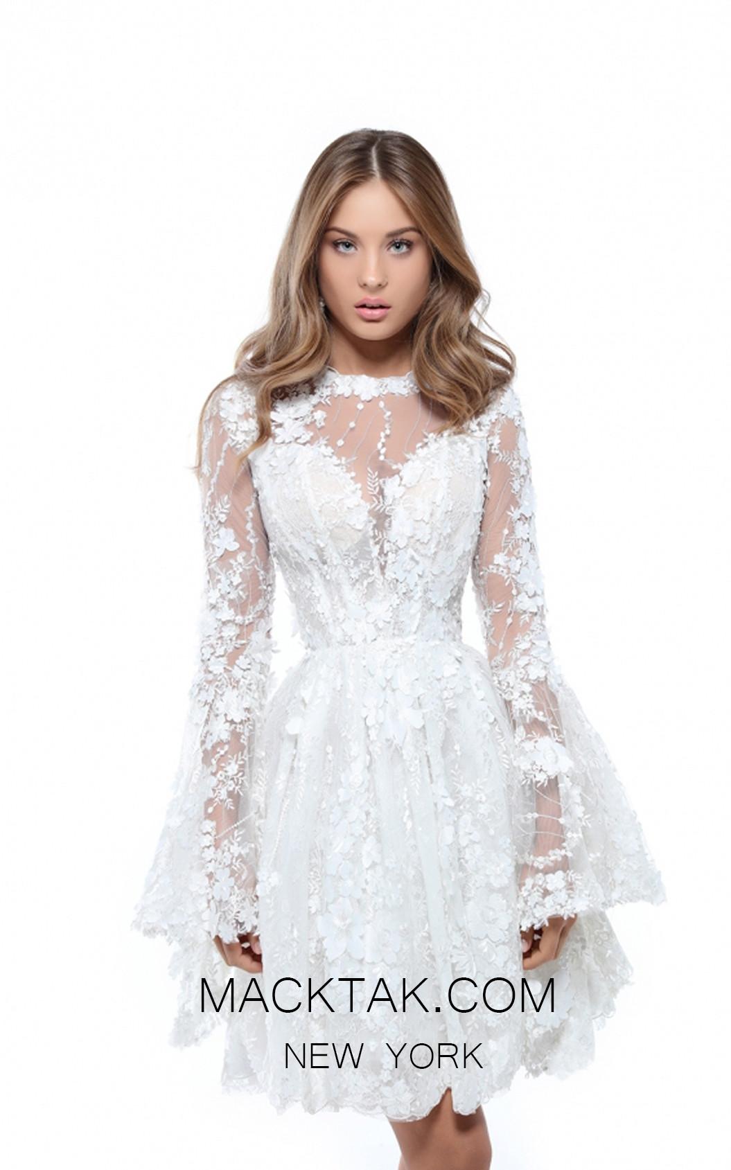 Tarik Ediz 50417 Ivory Front Prom Dress