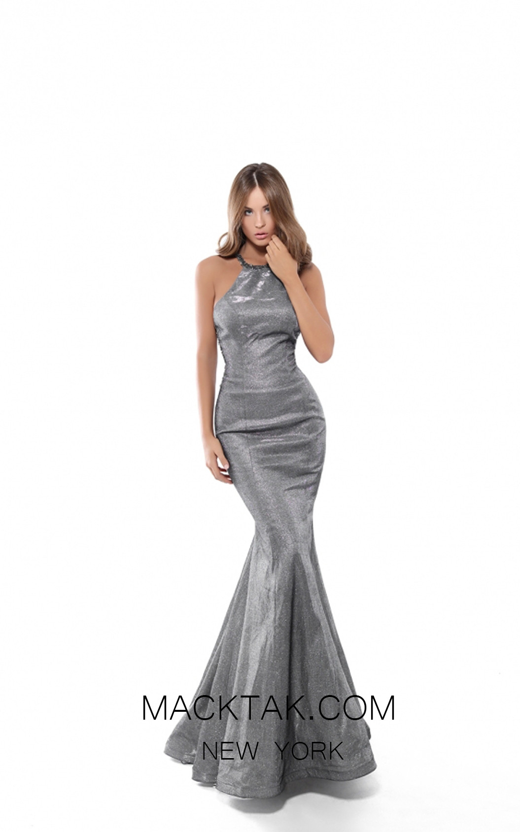 Tarik Ediz 50445 Gunmetal Front Prom Dress