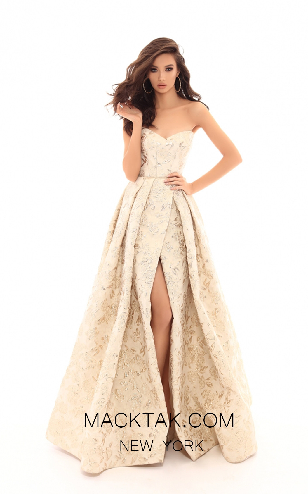 Tarik Ediz 50455 Cream Front Prom Dress