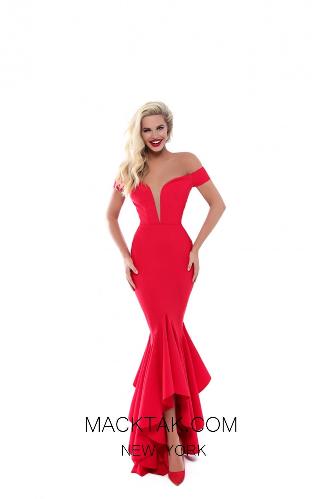 Tarik Ediz 50513 Red Front Prom Dress