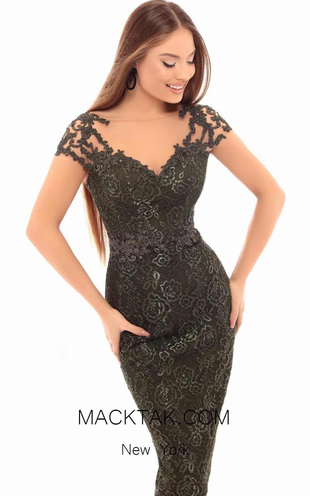 Tarik Ediz 93646 Olive Green Front Dress