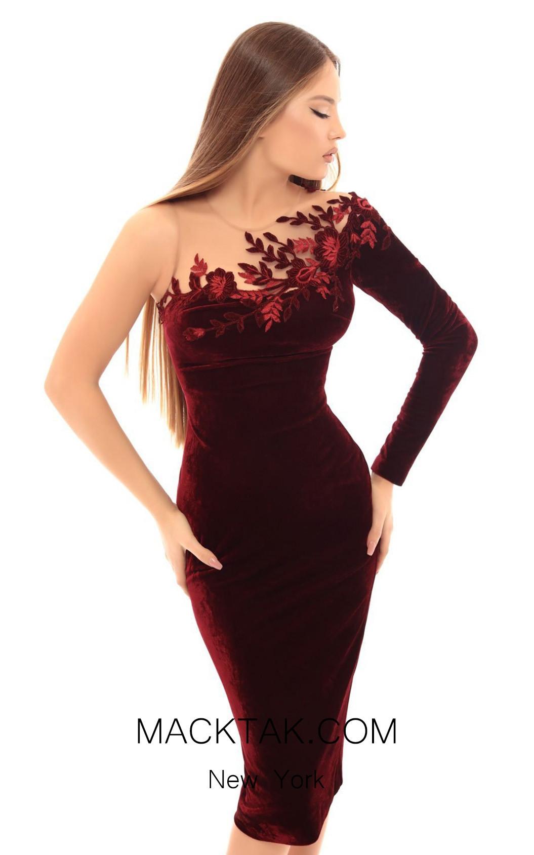 Tarik Ediz 93664 Burgundy Front Dress