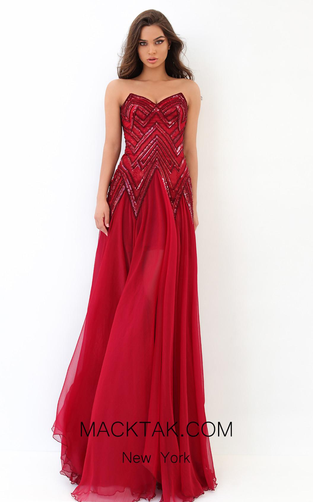 Tarik Ediz 93845 Red Front Dress