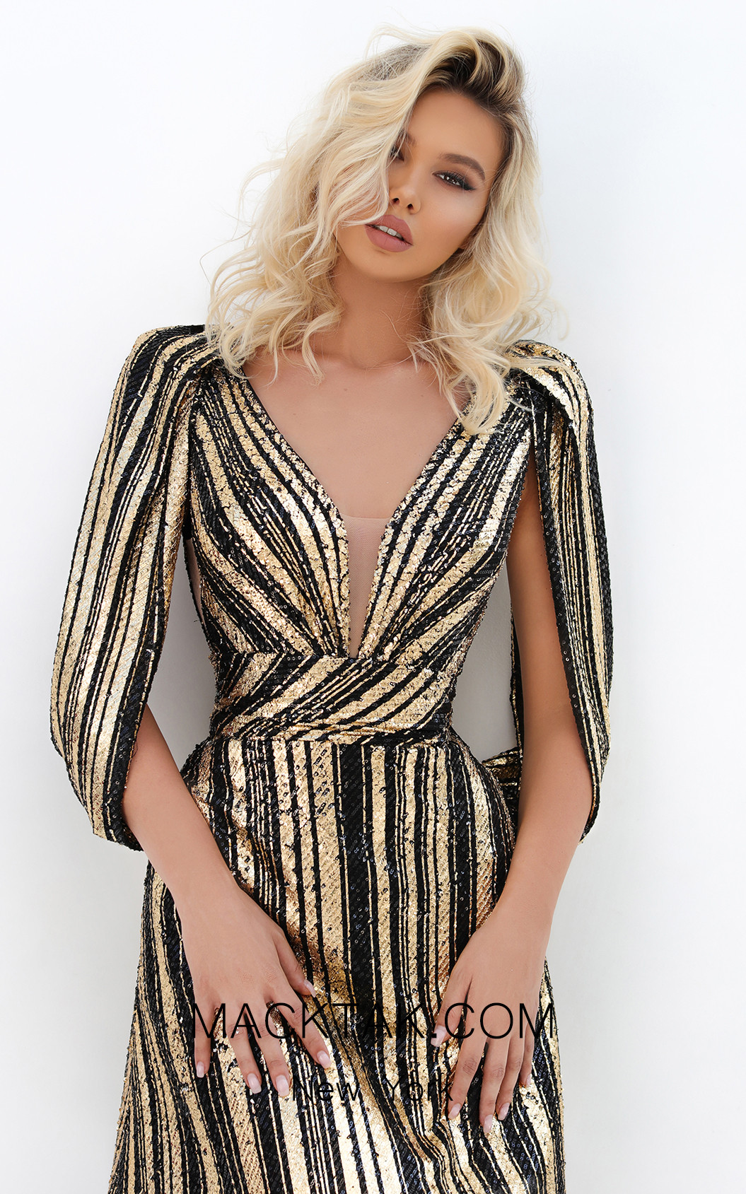 Tarik Ediz 93923 Black Gold Front Dress