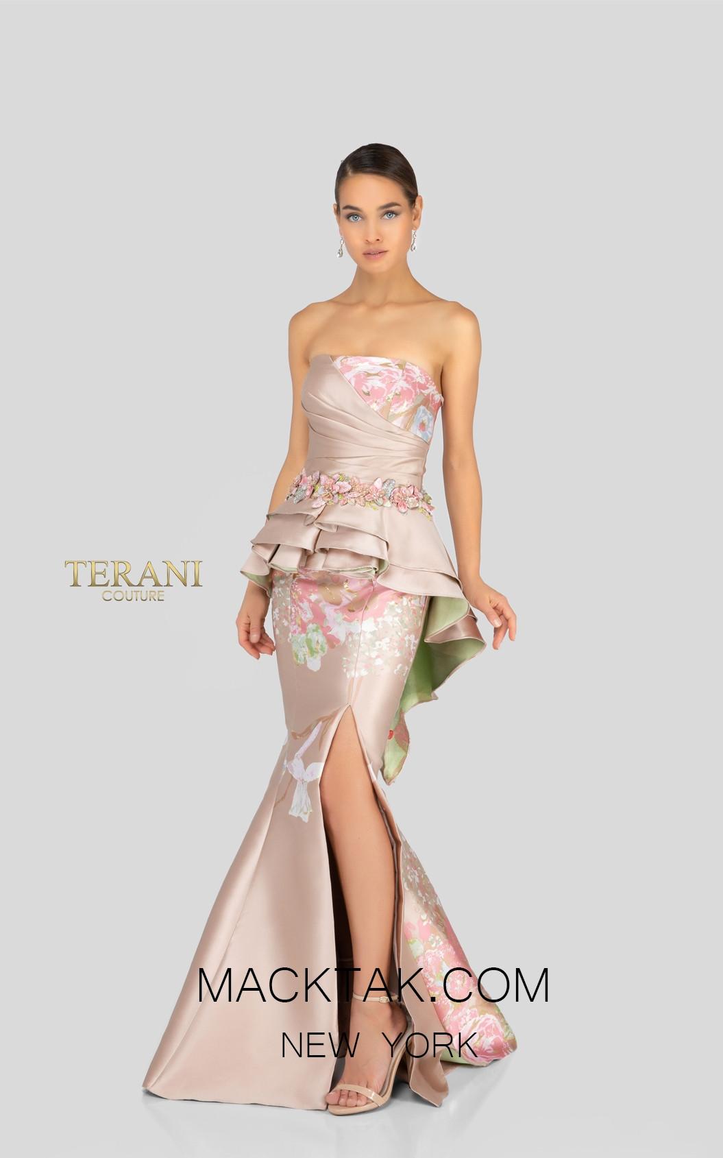 Terani 1911E9100 Champagne Gold Front Evening Dress