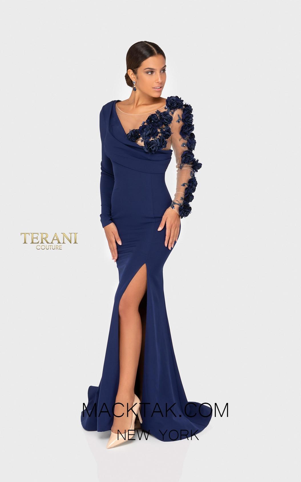 Terani 1911E9109 Navy Nude Front Evening Dress