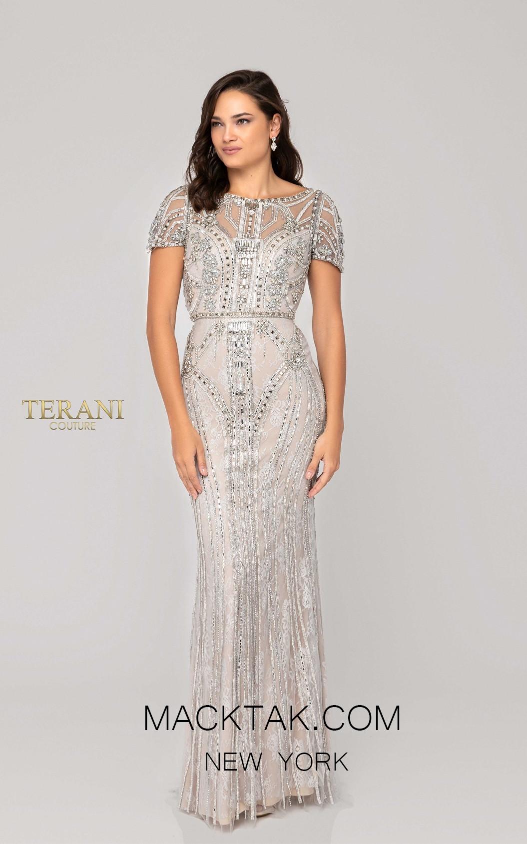 Terani 1911GL9487 Platinium Front Pageant Dress