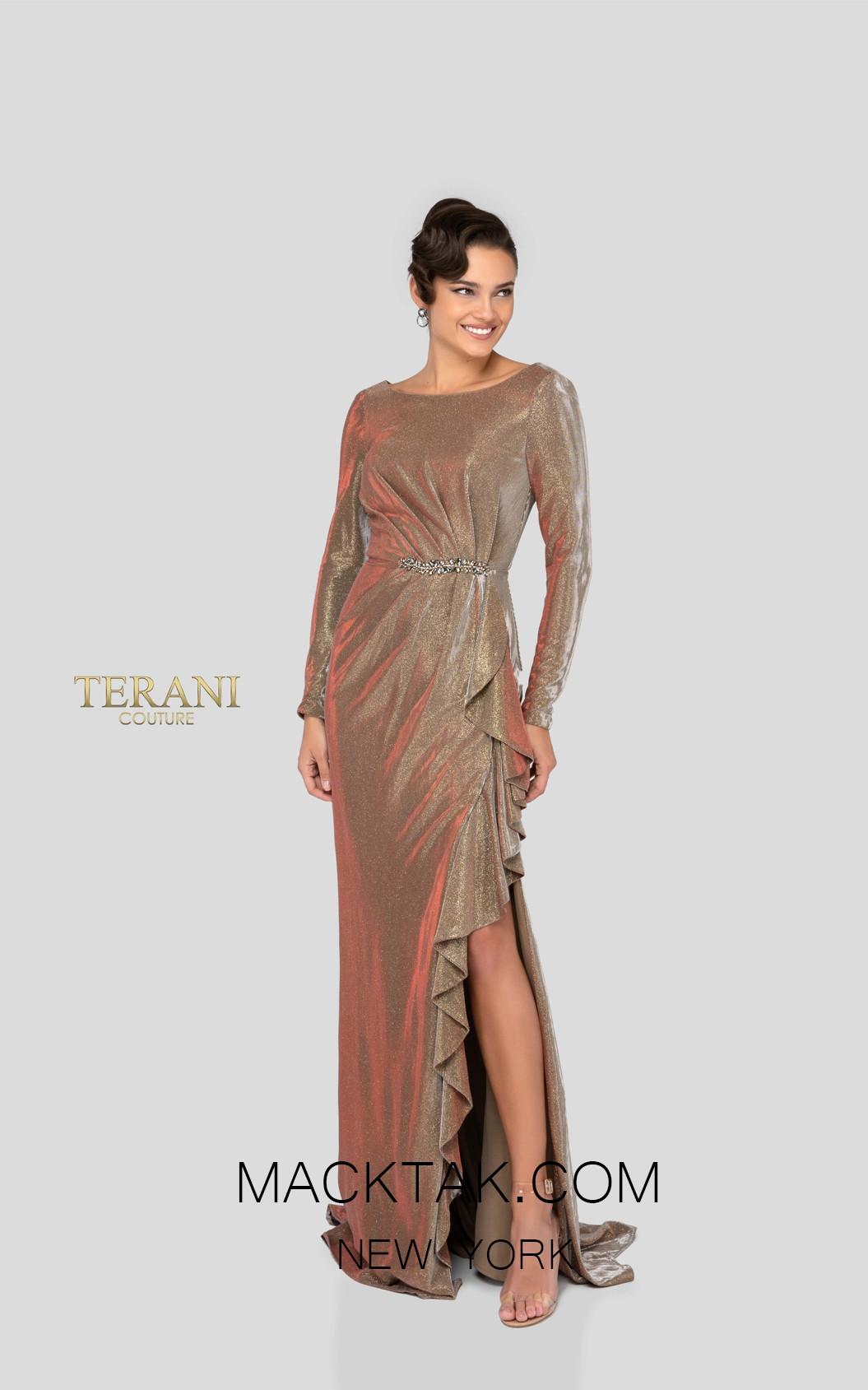 Terani 1911M9343 Bronze Gold Front Mother of Bride Dress