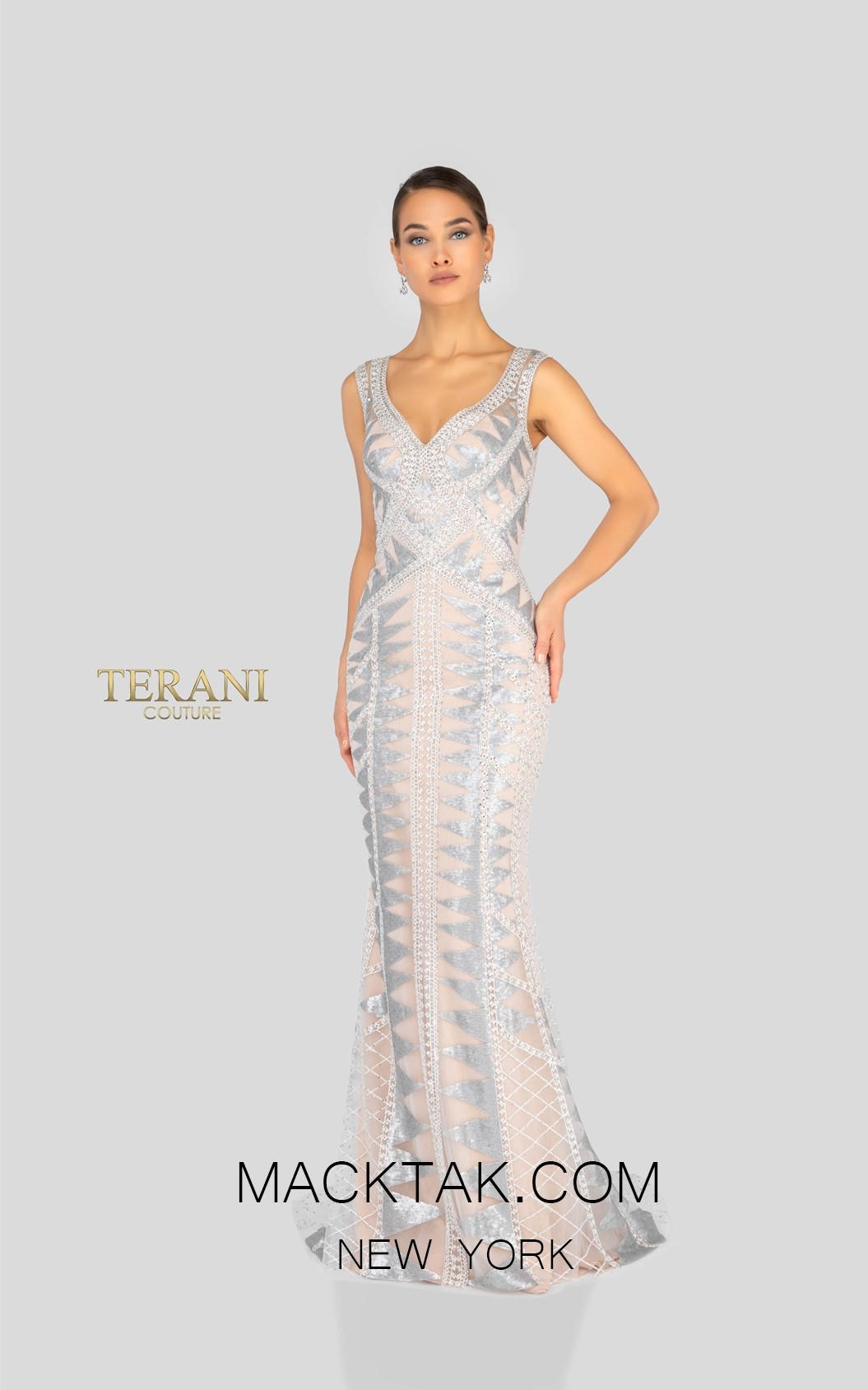 Terani 1913E9226 White Silver Nude Front Evening Dress