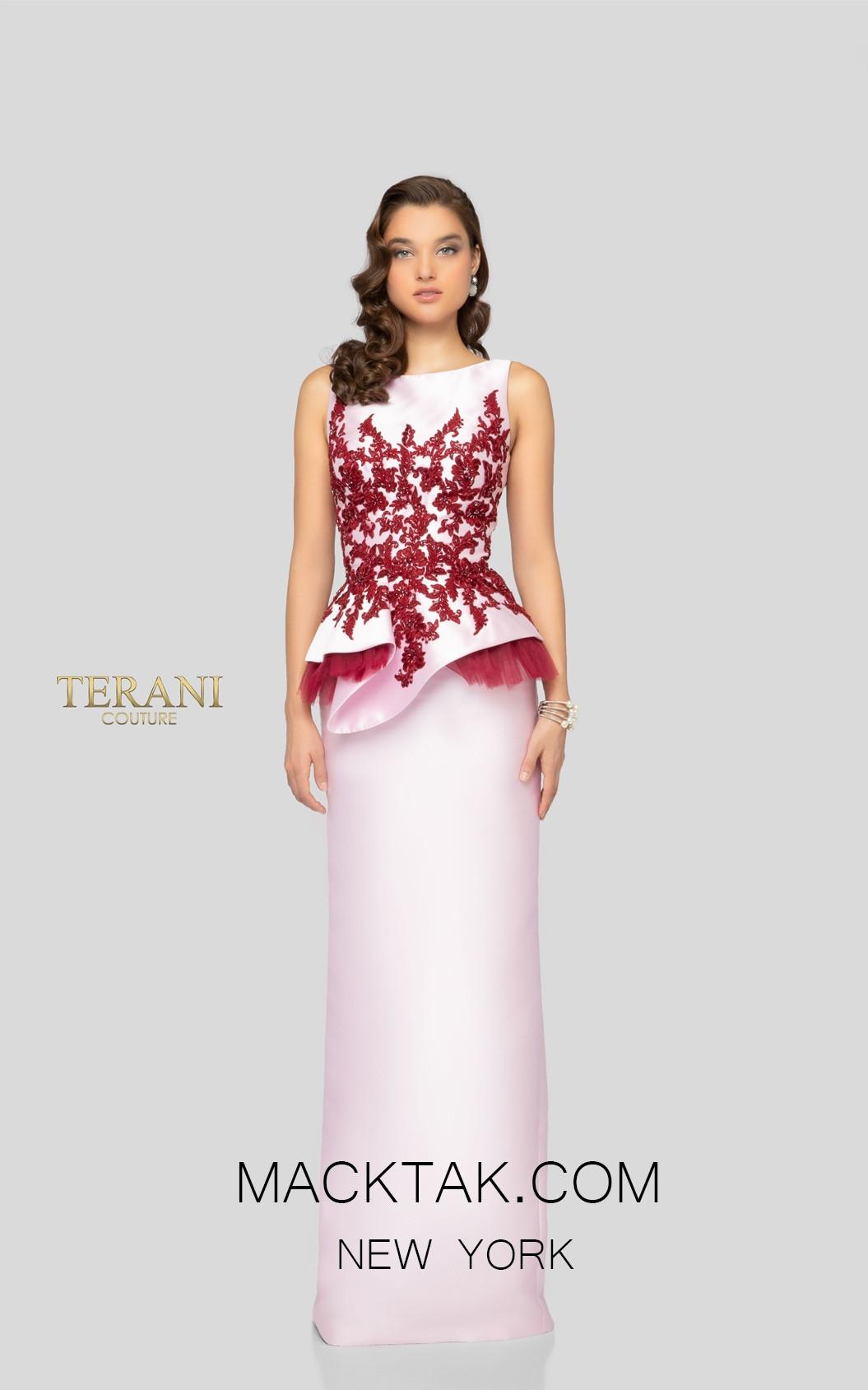 Terani 1913E9244 Pink Wine Front Evening Dress