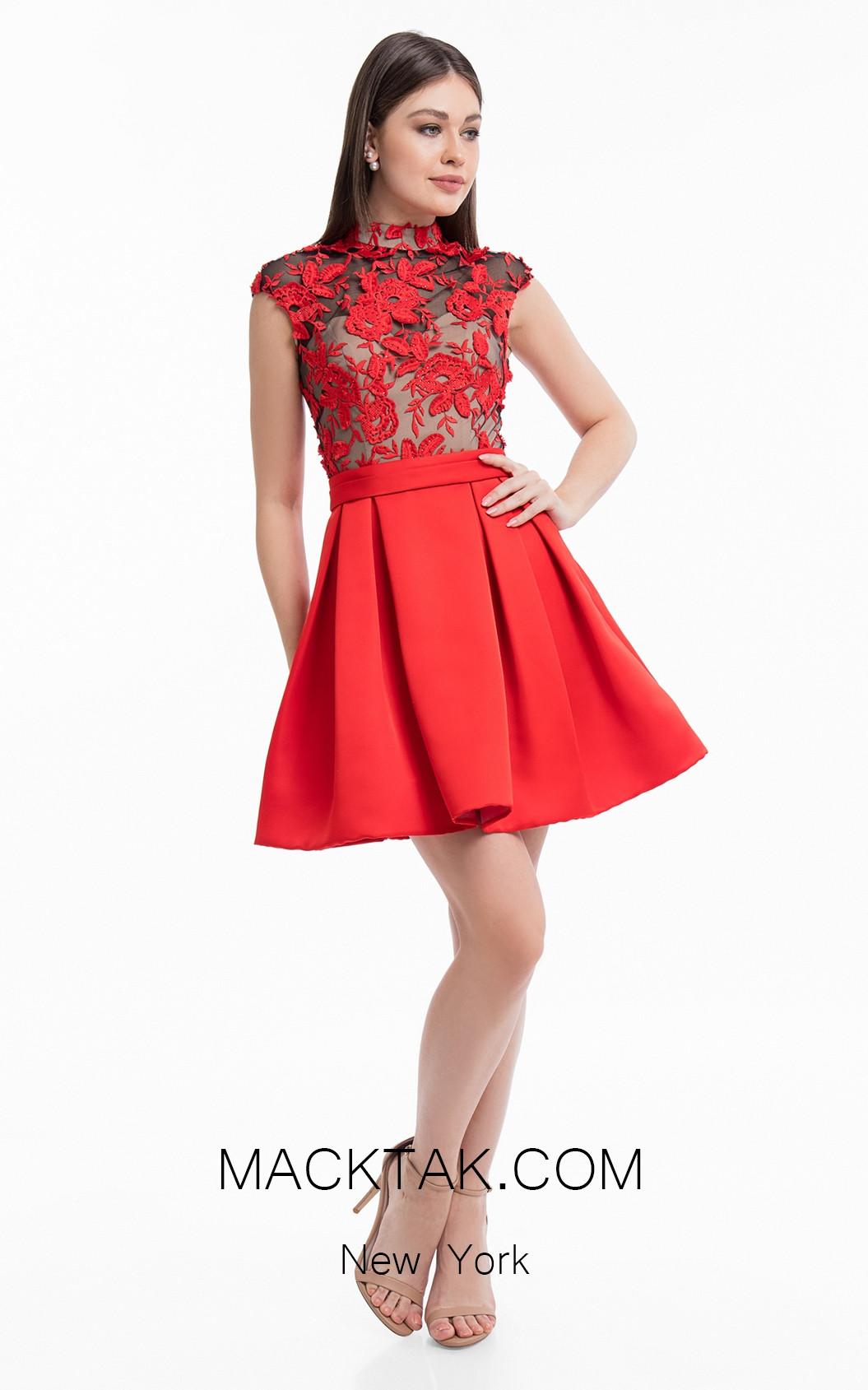 Terani 1822H7872 Red Black Front Dress