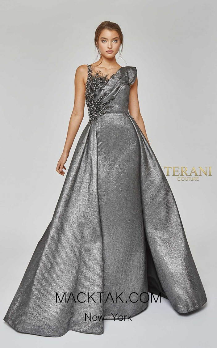 Terani Couture 1921M0486 Gunmetal Front Dress