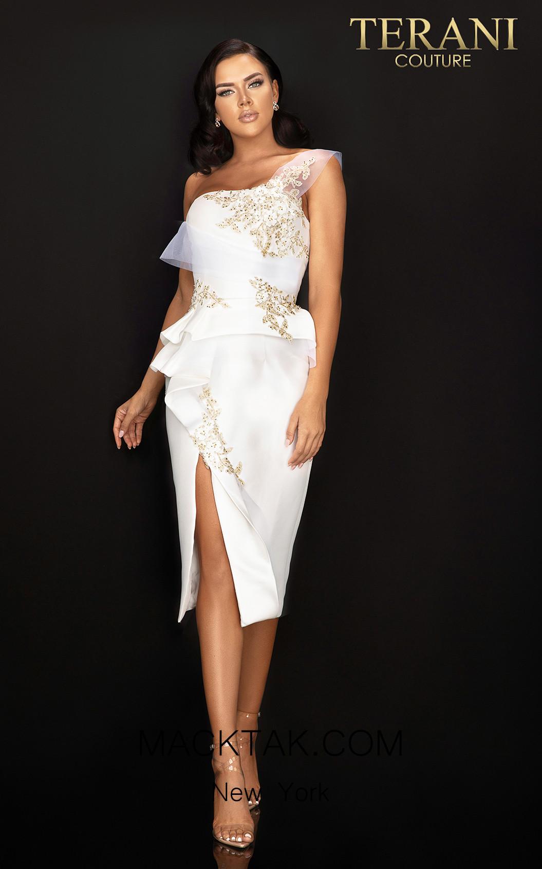 Terani 2011C2020 Ivory Front Dress