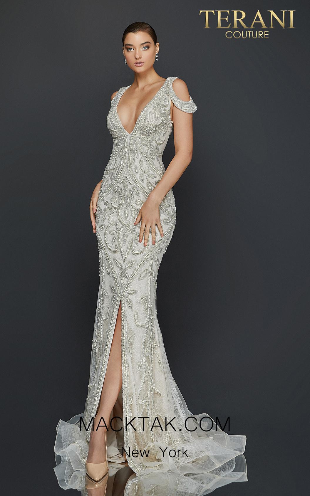 Terani 2011GL2174 Ivory Front Dress