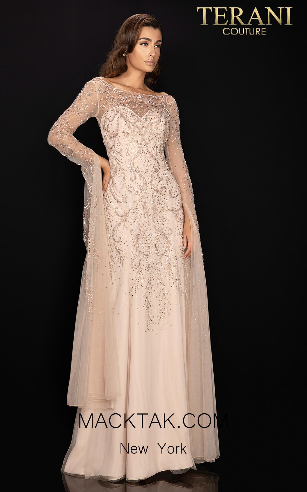 Terani 2011M2169 Light Taupe Front Dress