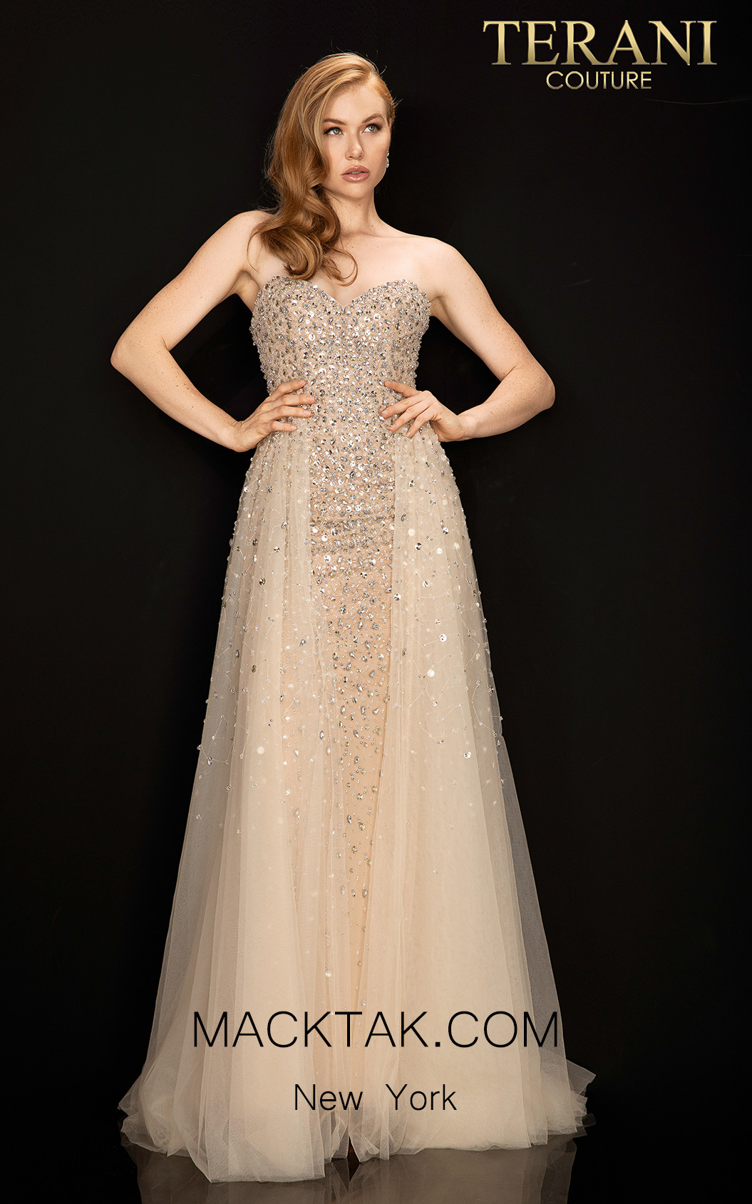 Terani 2011P1161 Almond Front Dress