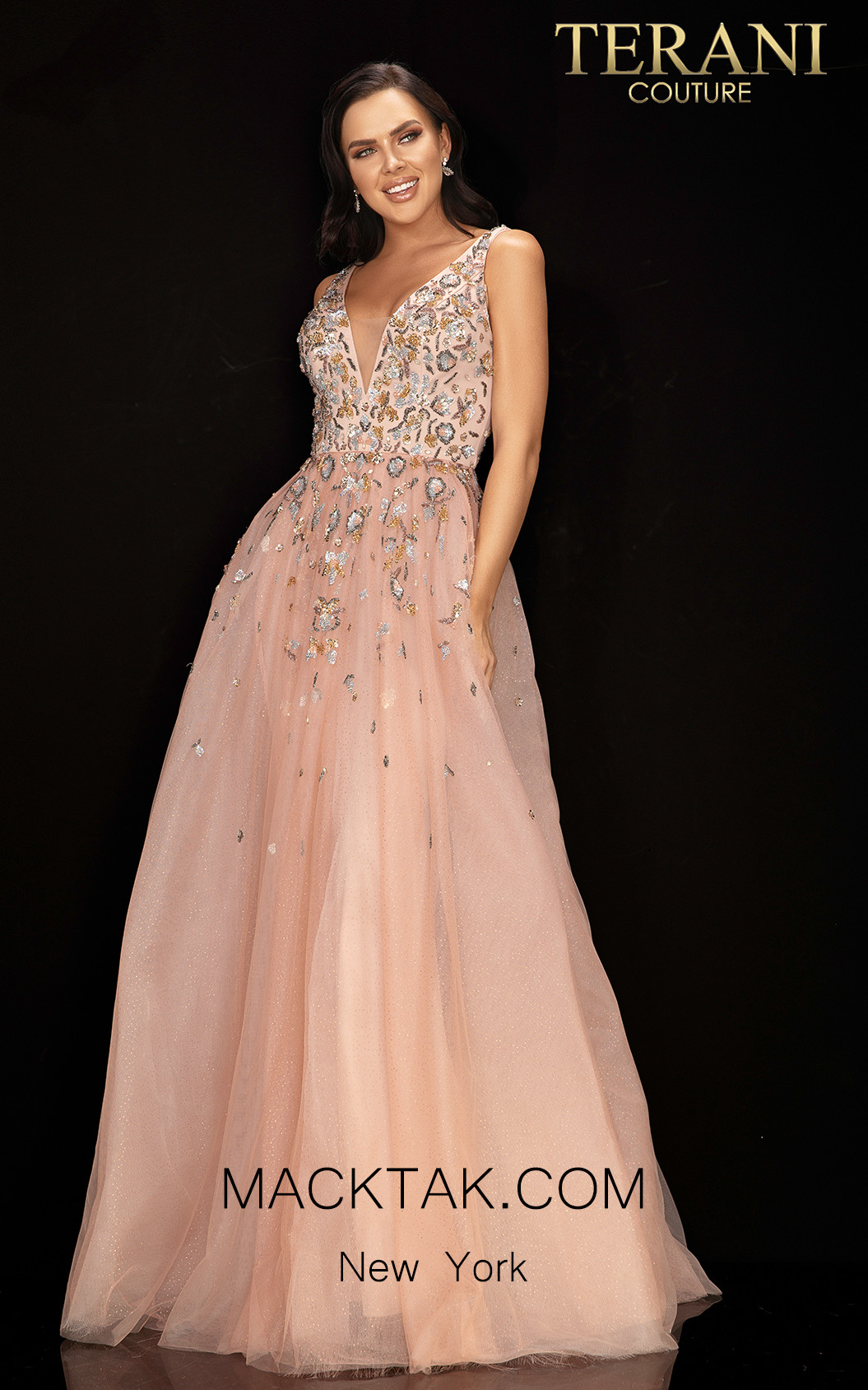 Terani 2011P1205 Blush Front Dress