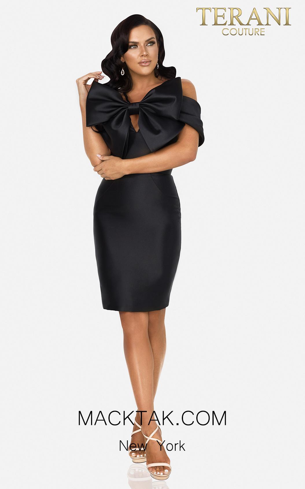 Terani 2012C2230 Black Front Dress