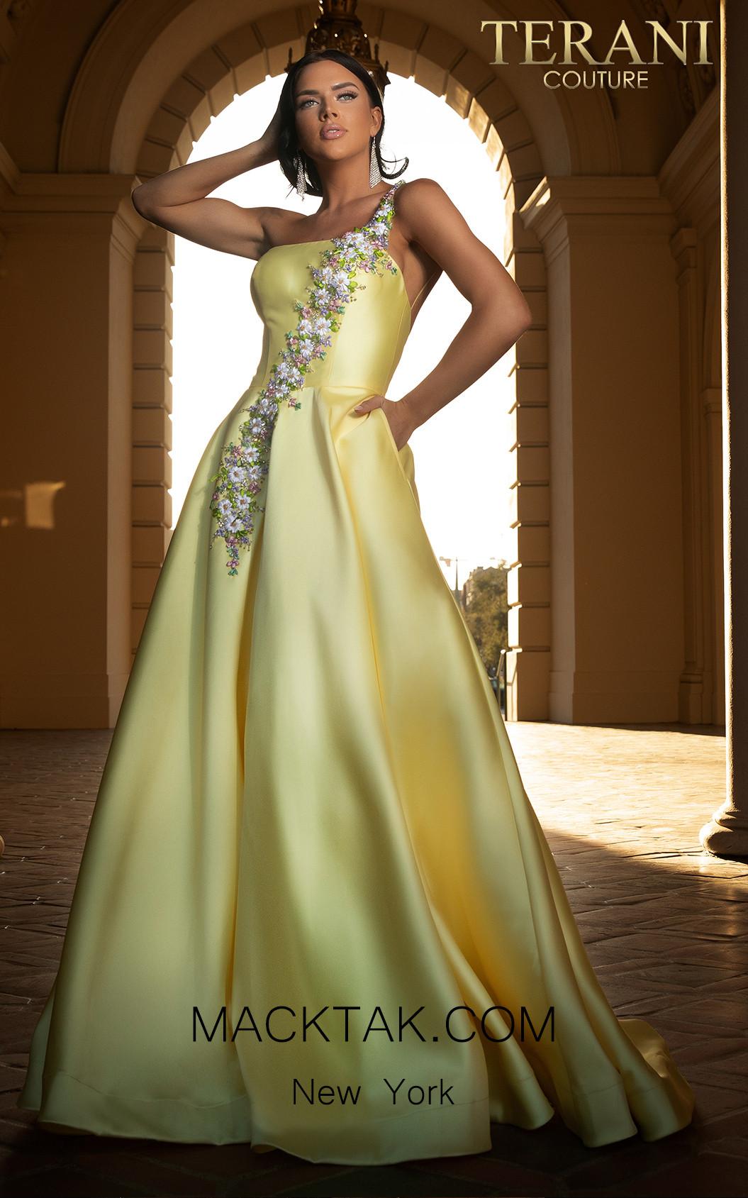 Terani 2017P1421 Yellow Front Dress
