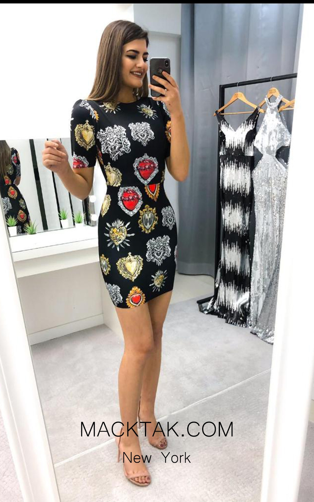 TK AS145 Print Evening Dress
