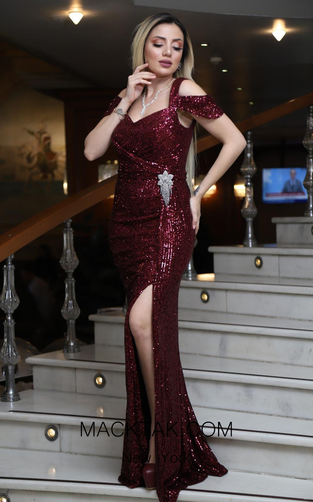 TK DA002 Burgundy Front Evening Dress
