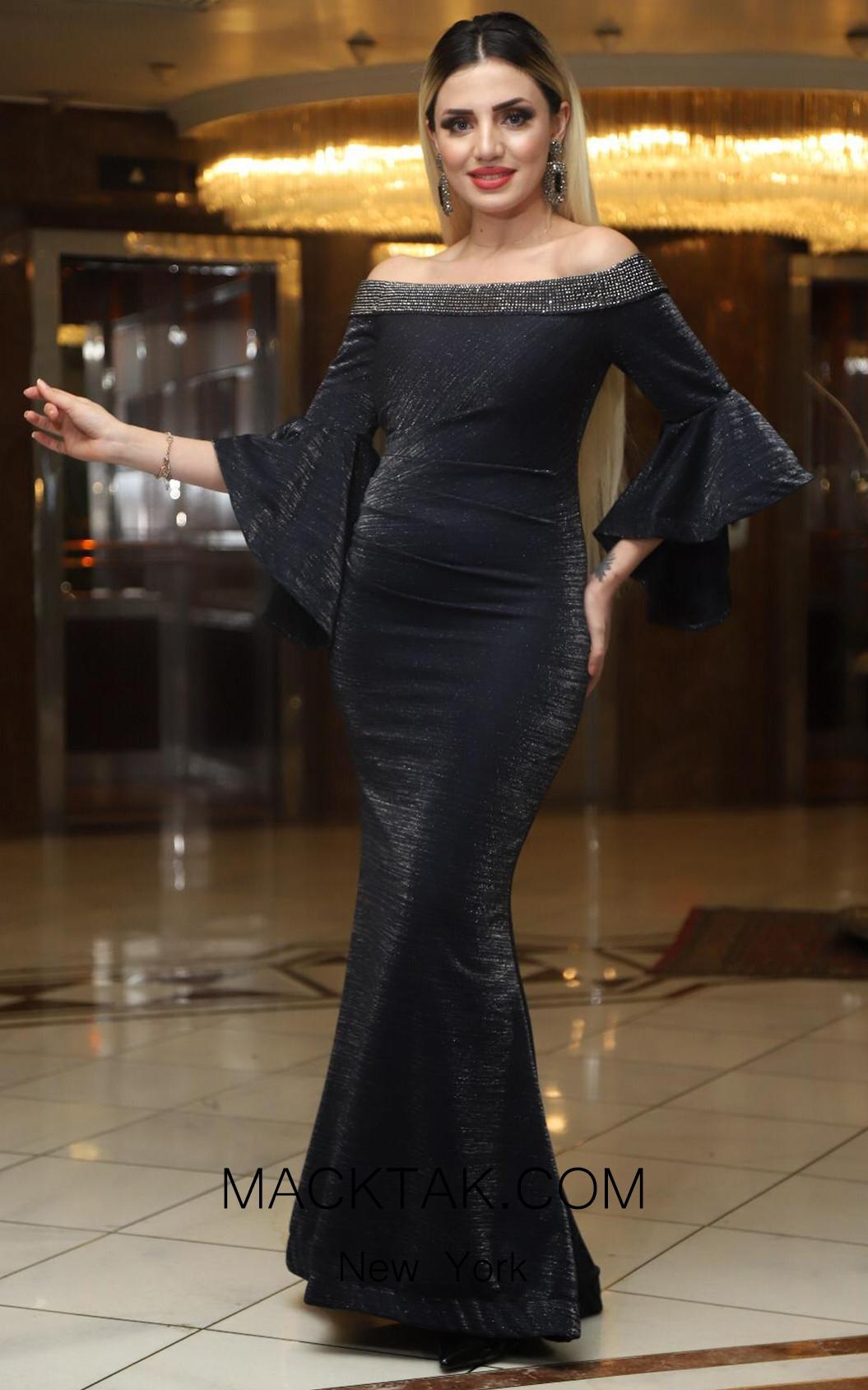 TK DA017 Gray Front Evening Dress