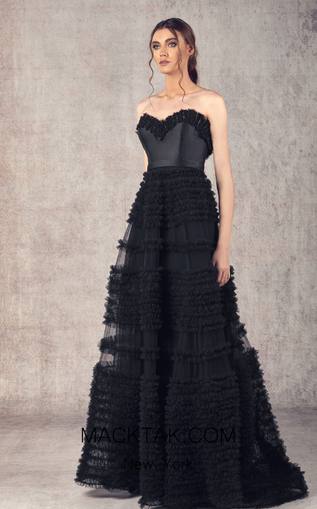 Ziad Germanos ZG13 Black Front Evening Dress