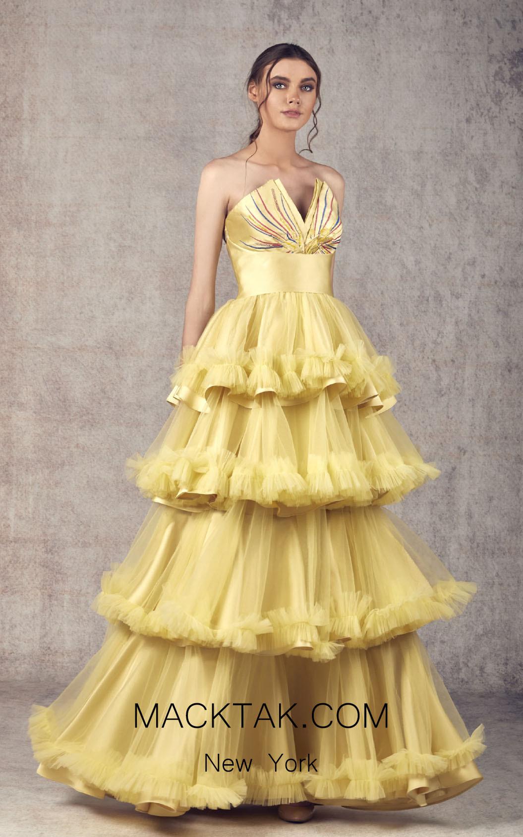 Ziad Germanos ZG19 Mustard Front Evening Dress