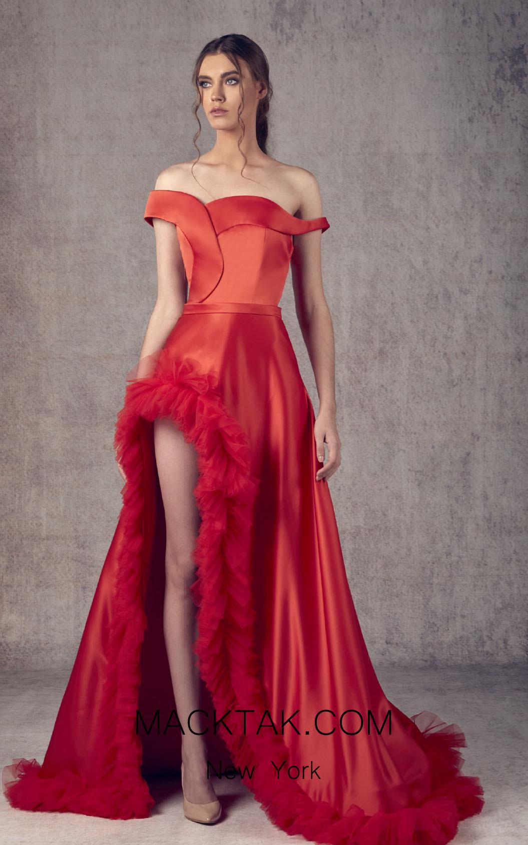 Ziad Germanos ZG4 Red Front Evening Dress