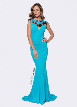 Ashley Lauren 1145 Turquoise Dress
