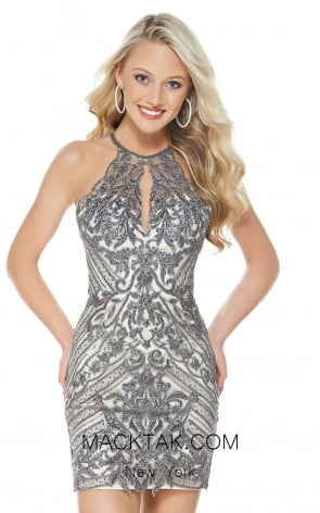 Alyce 1323 Gray Front Evening Dress