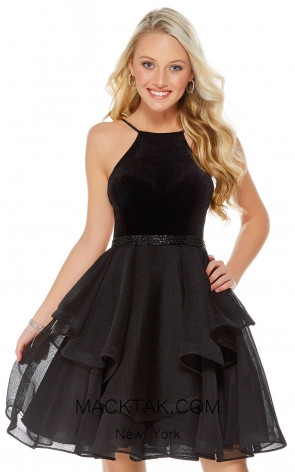 Alyce 1327 Black Front Evening Dress