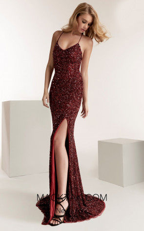 jasz 1431 Wine Front Evening Dress