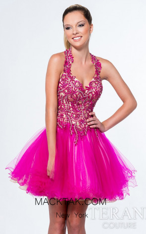 Terani 151P0008 Fuchsia Front Evening Dress