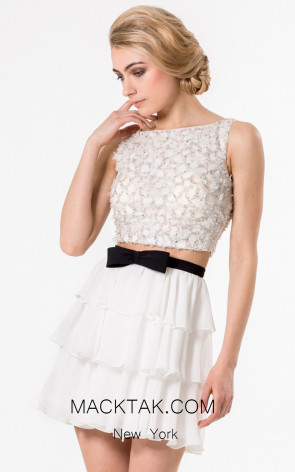 Terani 1521H0059A Ivory Black Front Evening Dress
