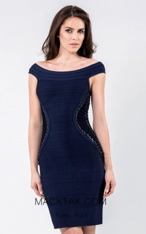 Terani 1523C0322A Navy Front Evening Dress